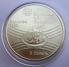 Canada 5 Dollars 1976 Silver coin UNC Olympic flame Montreal Olympics 1976