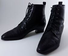 Amalfi Vintage Black Leather Boots Lace Up Cap Toe Victorian Granny Italy 6 B