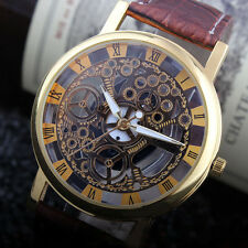 Fashion Men's Cool Analog Quartz PU Leather Band Gold Plated Sport Wrist Watch