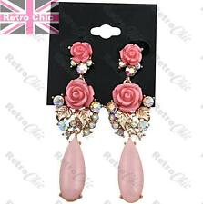 """3""""long RETRO*CHIC VINTAGE ROSES pink cabochon AB CRYSTAL gold fashion EARRINGS"""