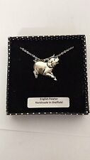 A39 Running Pig english pewter 3D Platinum Necklace Handmade 18 INCH