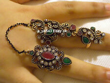 Bollywood Jewellery,Indian Ethnic Rings,Slave bracelet,Two finger Ruby rings
