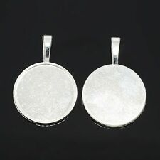5pcs Silver Alloy Flat Round Pendant Cabochon Settings Beads Blank Tray Findings