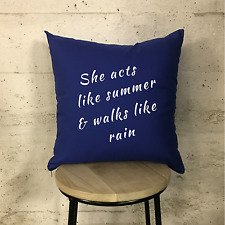 Train-Drops of Jupiter Lyrics Marina Blue & White Cushion 16""