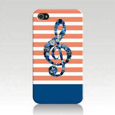 Button Art Music Treble Clef on Orange White Stripes Printed iPhone 4 4s Case