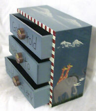 Mini Wood NOAH'S ARK Chest of Drawers Trinket Jewelry Storage Box Drawer Pulls