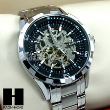 Mens Elgin Luxury Auto Chronograph Skeleton Stainless Steel Dress Watch GW187G
