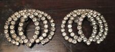 Vintage Signed MUSI Triple Oval Rhinestone Embellished Pair Shoe Buckles Clips