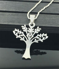 Tree Womens Men's Silver 316L Stainless Steel Titanium Pendant Necklace NEW