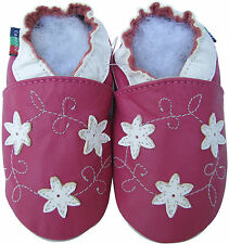 shoeszoo star flower fuchsia 6-12m S soft sole leather baby shoes