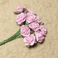 10 PINK OPEN ROSES FOR CARDS OR CRAFTS