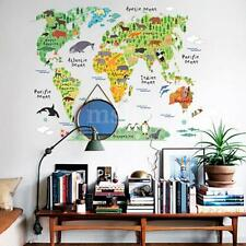 Animal World Map Removable Vinyl Wall Sticker Wall Decal Art Office Home Decor