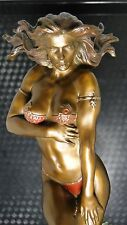 Erotic Bronze Semi Nude Sculpture Statue Art Figurine Woman Figure Fantasy HYS