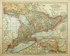 1900 ANTIQUE  ONTARIO color state map original authentic