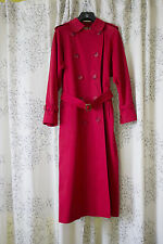 Vintage Burberry Red Trench Coat Extra Long Sz 8 Nova Check Classic
