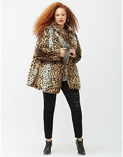 NEW LANE BRYANT $258 PLUS SIZE 6TH & LANE LEOPARD PRINT FAUX FUR COAT SZ 18/20