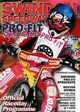 Speedway Programme SWINDON SPROCKETS v BUXTON HITMEN Aug 2003