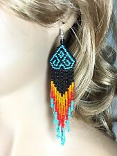 BLACK TURQUOISE BLACK SEED BEADS BEADED EARRINGS 5 INCHES E54/10
