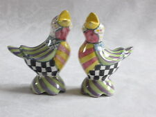 Mackenzie Childs PICCADILLY EARLY BIRD SALT & PEPPER SHAKER SET NEW mc15
