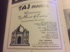 Original 1960 Taj Mahal Restaurant House Of Curries Vintage Print Ad Sydney