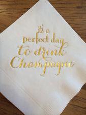 Champagne Bar Wedding Engagement Gold Foil Cocktail Beverage Wedding Napkin
