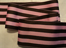 "2-1/2"" SOFT & SILKY GROSGRAIN STRIPE RIBBON - CHOCOLATE / PINK - MILLINERY OR ?"
