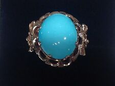 ESTATE LARGE PERSIAN TURQUOISE CABOCHON & FILIGREE RING in 14k  FINE YELLOW GOLD