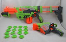 Lot of 2 Nerf Vortex Dart Disc Guns Praxis & Proton w/ Shoulder Stock & Clip