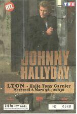 RARE / TICKET BILLET DE CONCERT - JOHNNY HALLYDAY : LIVE A LYON - MARS 1996