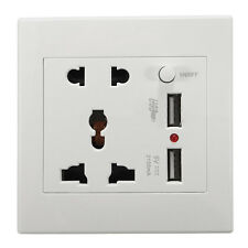 Universial 2.1A Dual USB Wall Socket Power Adapter PC Outlet Panel ON/OFF Switch