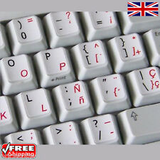 Dual Spanish English White Keyboard Stickers with Red Letters Laptop Computer PC