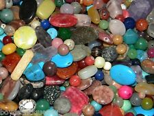 NEW 4/oz Semi-Precious, Gem, Stones 6-20mm Large MIXED LOOSE BEADS LOT (F2P)