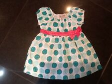 NWOT Juicy Couture New Turquoise,Pink & White Cotton Dress Baby Girl 6/12 MTHS