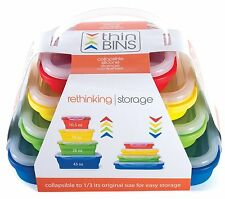 Thin Bins Collapsible Containers Set 4 Silicone Food Storage Containers–BPA Free