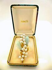 Vintage Ming's of Honolulu, Signed, Jade & Pearl Brooch 14K Gold, Original Box