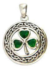 Sterling Silver Celtic Shamrock Pendant with Emerald Green Glass Gems Charm