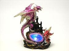 "Two Dragon Castle Geode Light 10"" Tall Light Figurine Statue Everspring EISR-55"