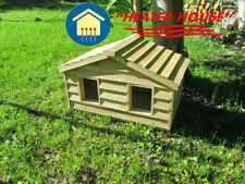 SMALL DUPLEX HEATED INSULATED CEDAR CAT HOUSE SHELTER