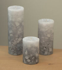 """Gray & White Candles: Set of 3 Grey Mosaic Fade - 3x4, 6 & 9"""" by Nordic Candle"""