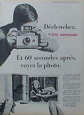 PUBLICITE POLAROID APPAREIL PHOTO EN 60 SECONDES CHAT DE 1966 FRENCH AD PUB CAT