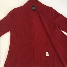 Eileen Fisher XS Open Front Cardigan Sweater Italian Wool Knit In Red