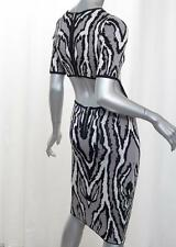 TORN by RONNY KOBO Womens HARLOW Gray Tiger Cutout Bodycon Dress S NEW NWT