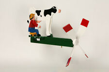 Dairy Farmer Milking the Cow Wooden Whirligig