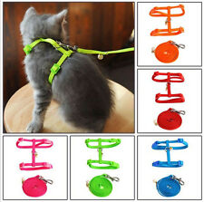 Pet Cat Nylon Lead Leash Adjustable Collar Harness Kitten Belt Safety Rope C1033