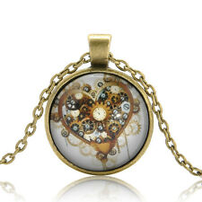 Charm Steampunk Heart Photo Cabochon Glass Bronze Chain Pendant Necklace Gift