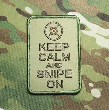 KEEP CALM AND SNIPE ON AMERICAN SNIPER USA MULTICAM VELCRO® BRAND FASTENER PATCH