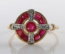 LOVELY 9CT 9K GOLD INDIAN RUBY DIAMOND ART DECO INS RING FREE RESIZE