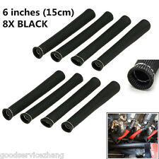 """8 PC BLACK SPARK PLUG WIRE PROTECTOR/INSULATOR SHIELD SLEEVE/BOOT 6"""" INCH A"""
