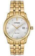 Mens Citizen Eco-Drive Gold Stainless Silver Dial Diamond Watch BM7342-50A