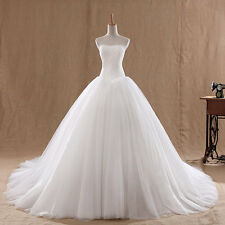 Simple Ivory Strapless Lace A-line Cathedral Ball Gown wedding dresses